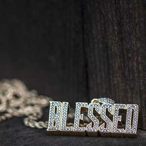 Lab Simulated Diamond Gold Blessed Necklace
